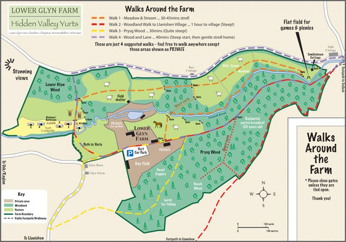 Hidden Valley Yurts Lower Glyn Farm Map with Walks